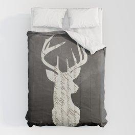Victorian Deer Head Silhouette Gothic Romantic Retro Vintage Old Handwriting Calligraphy Comforters