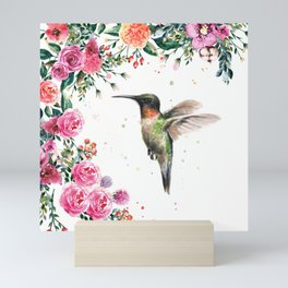 Hummingbird and Flowers Watercolor Animals Mini Art Print