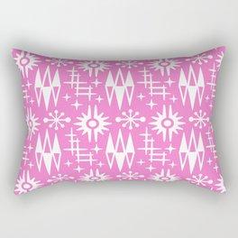 Mid Century Modern Atomic Space Age Pattern Pink Rectangular Pillow