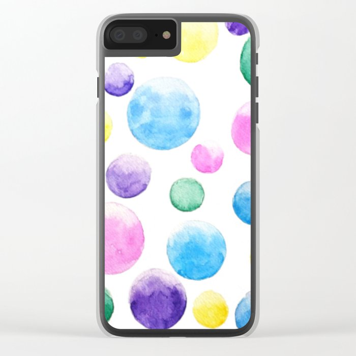 cheerful colorful bubbles Clear iPhone Case