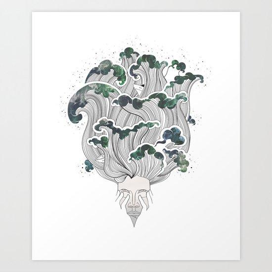 Storming mind   White Art Print