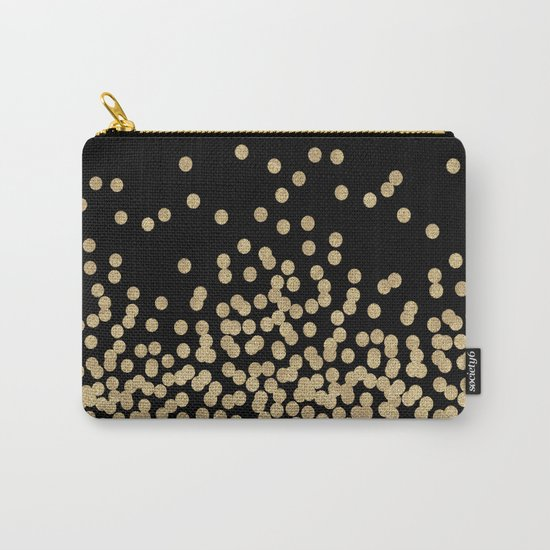 Gold glitter dots scattered on black background Carry-All Pouch