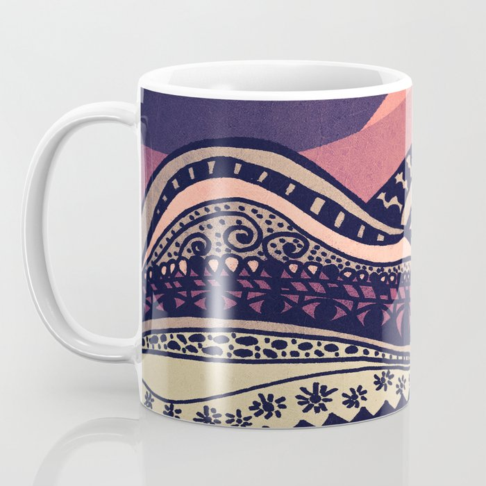 Psychedelic mountains (colour option) Coffee Mug