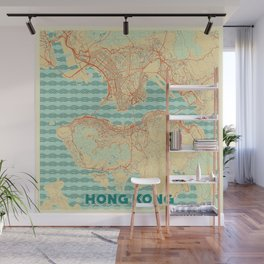 Hong Kong Map Retro Wall Mural