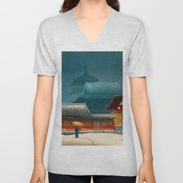 Vintage Japanese Woodblock Print Japanese Red Shinto Shrine Pagoda Winter Snow Unisex V-Neck