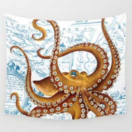 Brown Octopus Ancient Map White Wall Tapestry