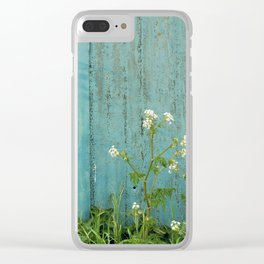 natural wild flowers floral outdoors blue metal fence texture Clear iPhone Case