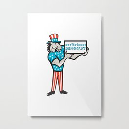 Vote Democrat Donkey Mascot Standing Cartoon Metal Print