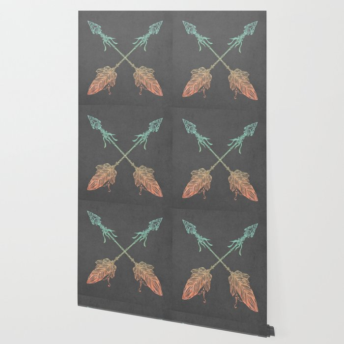Tribal Arrows Turquoise Coral Gradient on Gray Wallpaper