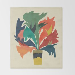 Potted staghorn fern plant Throw Blanket