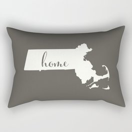 Massachusetts is Home - White on Charcoal Rectangular Pillow