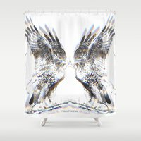 medicine Shower Curtains featuring Hawk Medicine by Pola Phoenix