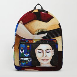 Violeta Parra and her guitar Backpack