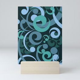 Koru Waves on a Black Background Mini Art Print