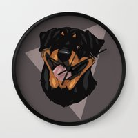 rottweiler Wall Clocks featuring Rottweiler by Mickeyila Studios