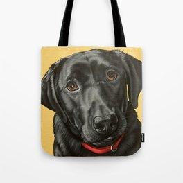 Black Labrador Retriever Portrait, Pop Art Lab Dog Painting Tote Bag