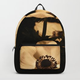 Anemone Flowers, Black with Golden Frame, Floral Nature Photography Backpack
