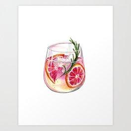 Grapefruit Gin & Tonic Art Print