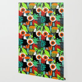 Tropical vibe with toucans Wallpaper