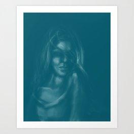 Digital painting of mysterious girl Art Print