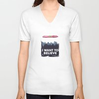 i want to believe V-neck T-shirts featuring I Want to Believe by The Cracked Dispensary