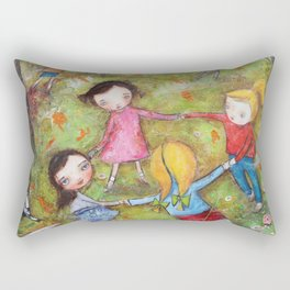 Autumn Mistral, playing ring-a-ring-a-rosie on a windy day Rectangular Pillow