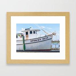 Stormy Seas - Fishing Vessel Framed Art Print