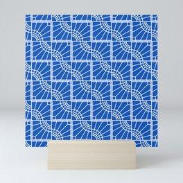 Blue Sapphire Peacock Feather Design Pattern Mini Art Print