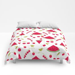 Pattern watermelon cherry raspberry currant Comforters