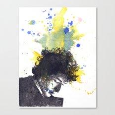 Portrait of Bob Dylan in Color Splash Canvas Print