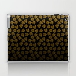 Gold Metallic Foil Photo-Effect Monstera Giant Tropical Leaves Faded on Solid Black Laptop & iPad Skin