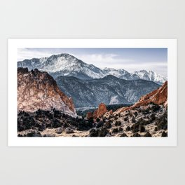 Garden of the Gods and Pikes Peak Mountain Landscape Art Print