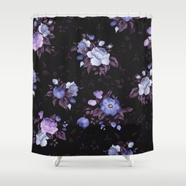 Purple Glowing Flowers In The Dark Of Night Floral Pattern Shower Curtain