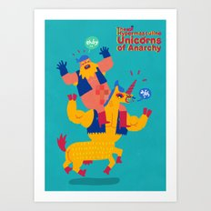 The Hypermasculine Unicorns of Anarchy Art Print