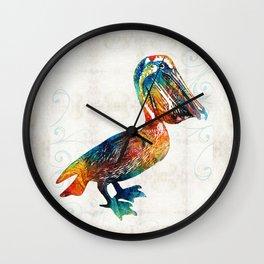Colorful Pelican Art 2 by Sharon Cummings Wall Clock