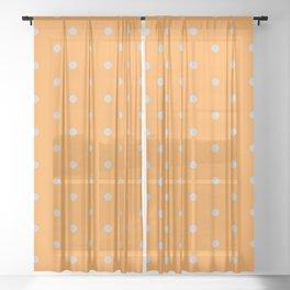 Polka Dots Pattern Light Orange and Light Gray Sheer Curtain