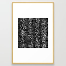 Hieroglyphics B&W INVERTED / Ancient Egyptian hieroglyphics pattern Framed Art Print