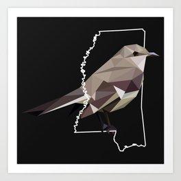 Mississippi - Northern Mockingbird (Black) Art Print