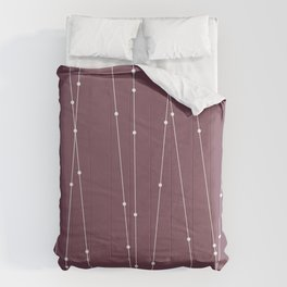 Contemporary Intersecting Vertical Lines in Mulberry Comforters