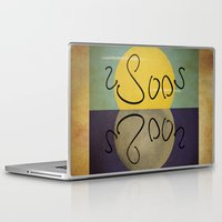 sun and moon Laptop & iPad Skins featuring ambigram sun and moon  by gazonula
