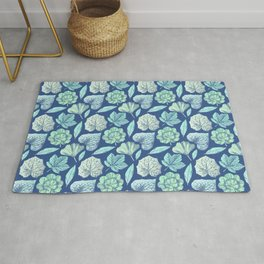 TEAL BLUE LEAVES Rug