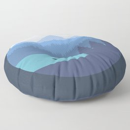 Kayak, forest and mountains Floor Pillow