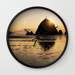 Cannon Beach haystack Wall Clock