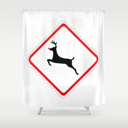Christmas Reindeer Street Sign Shower Curtain