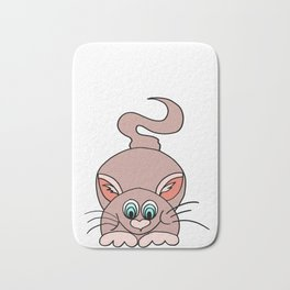 Friendly and funny drawing of a cat for children and adults Bath Mat