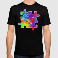 Autism Colorful Puzzle Pieces MEDIUM Black Mens Fitted Tee