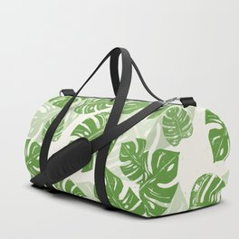 Linocut Monstera Leaf Pattern Duffle Bag
