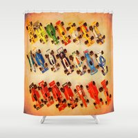 cars Shower Curtains featuring RACE CARS by Teresa Chipperfield Studios