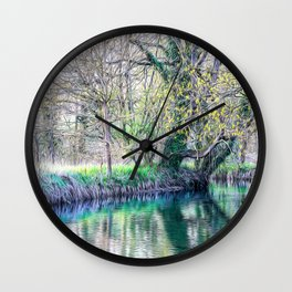 Little creek in the Ticino river natural park during winter before sunset Wall Clock