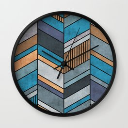 Colorful Concrete Chevron Pattern - Blue, Grey, Brown Wall Clock